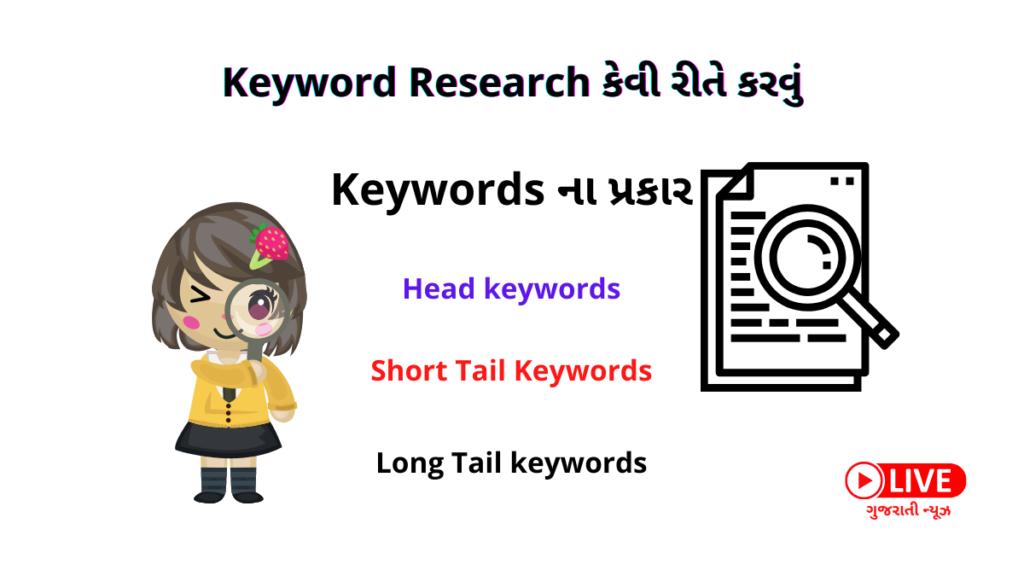 Keyword Research કેવી રીતે કરવું ,Keywords ના પ્રકાર